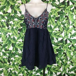 5 for $25 Lush Navy Blue Embroidered Mini Dress